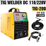 TOSENBA TIG Welder TIG Welding Machine 200Amp Dual Voltage 110/220V DC IGBT Inverter Digital Display Portable
