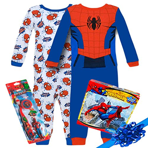 Marvel Spiderman Boys 4 Piece Pajama Set and Spiderman Gift Set, Size: 4T