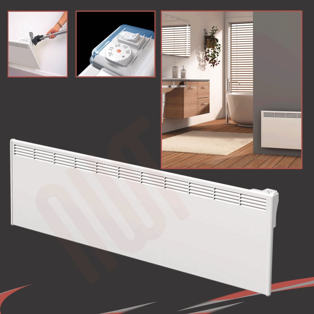 BEHA 2000 Watt 2.0Kw White Electric Convector, Panel Heater, Wall Mounted   1420mm(w)   400mm(h)       Customer review and more information