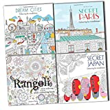 img - for Stress Relieving Art Therapy Adult Colouring For Mindfulness 4 Books Set (Secret Paris, Secret Japan, Dream Cities, Rangoli) book / textbook / text book