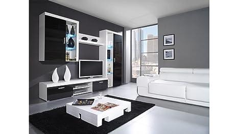 """BMF SAMBA """"B"""" Toilettenstuhl Kommode / SIDEBOARD / Wohnwand Schwarz Hochglanz IN weiß und Farbkombinationen mit Blau, Grun, weiße LEDs weiß / schwarz"""