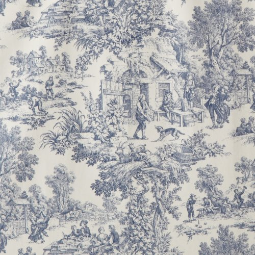Victoria Park Toile Tie Up Valence Window Curtain Blue New Free Shipping