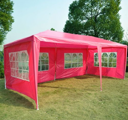 Frugah Pink Outdoor Patio Gazebo 10 X 20 Ft Wedding Party Canopy Tent with 4 Window Walls, Outdoor Stuffs