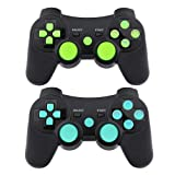 PS3 Controller Wireless Gamepad 6 Axis Dualshock 3 Game Remote Control Joystick for Playstation 3 with Charging Cable (Blue-Yellow) (Color: Blue-Green)