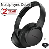 Avantree Bluetooth Headphones Over Ear with Mic for TV PC Computer, No Audio Delay, Extra Lightweight, Foldable Wireless Wired Headset for Laptop, Phone - HS063 [2-Year Warranty] (Color: Fast Stream Foldable Comfortable)