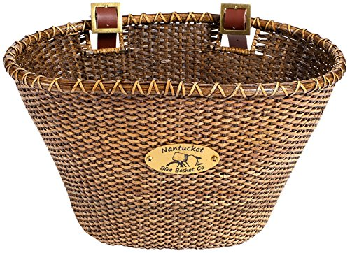 Nantucket Bike Basket CompanyLightship Collection Oval/Dark Stain Bicycle Basket (Brown, 14 X 10 X 8.5)