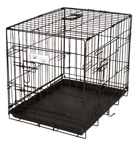 Valuplanet Epoxy 2-Door Dog Crate, 36-Inch, Black front-41544