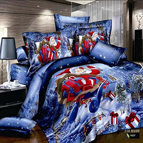 Lt Queen Size 100% Cotton 4-Pieces 3D Red Father Christmas Santa Claus Kriss Kringle Blue Snow Winter Forest Gift Prints Duvet Cover Set/Bed Linens/Bed Sheet Sets/Bedclothes/Bedding Sets/Bed Sets/Bed Covers/5-Pieces Comforter Sets (4) front-681787