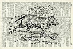 PUMA ART PRINT - ANIMAL ART PRINT - WILDLIFE ART PRINT - NATURE ART PRINT -VINTAGE ART - Illustration - Picture - Vintage Dictionary Art Print - Wall Hanging - Home Décor - Book Print 80D