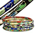 YourJewelleryBox 1542 Cloisonne 2 Bangles hand made bright colourful standard wrist pretty