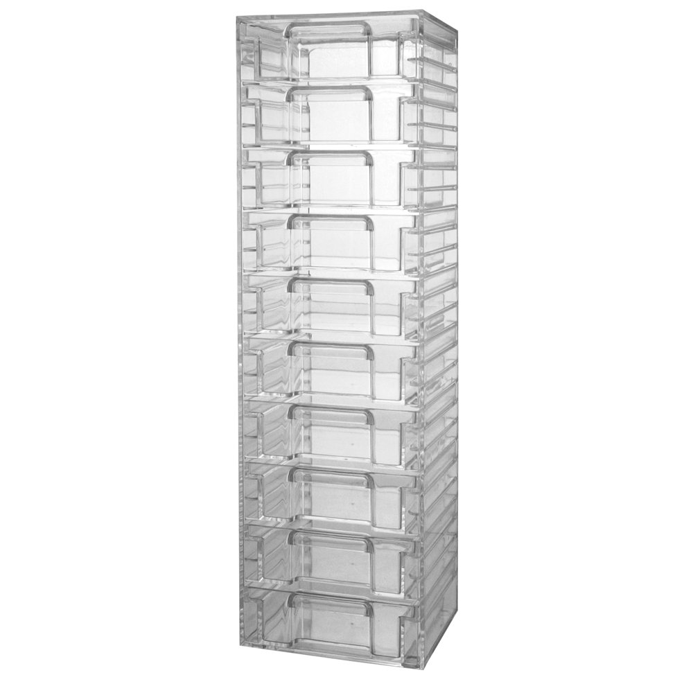 10 Drawers Clear Acrylic Tower Organizer Cosmetic Jewelry