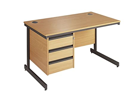 Minuet 1532 Straight Desk with Cantilver Frame with 3 Drawer Fixed Pedestal - Oak