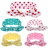Baby Headband, KENTONG HILL Cute Baby Girl Bunny Ears Headbands Cotton Bows Pack of 5 - Wave point