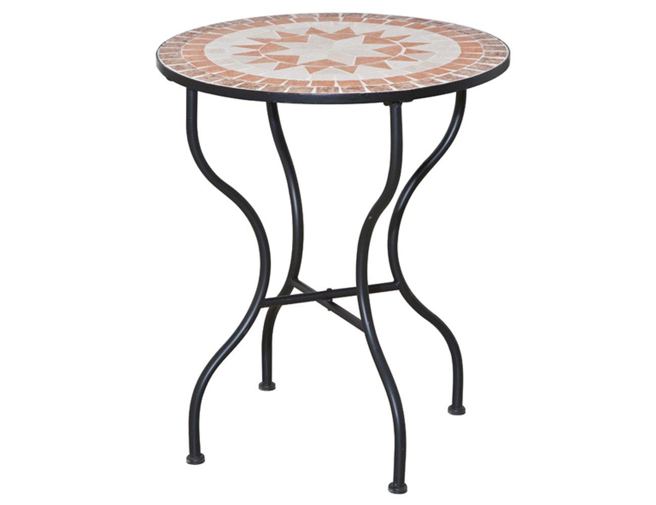 Siena Garden 660007 Tisch Finca, Ø70cm Stahl-Gestell schwarz Mosaik-Optik günstig kaufen