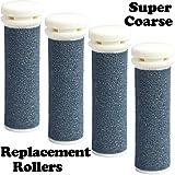 The Pedi Store SUPER Coarse Micro Mineral Replacement Rollers Compatible with Emjoi Micro-Pedi Callous Remover for Rough and Tough Calluses (4 pack)