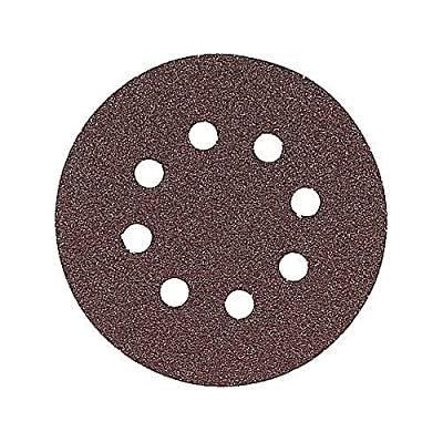 "Bosch SR5R045 5"" Hook & Loop 8 Hole Red Sanding Disc with 40 Grit (Pack of 50),"