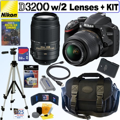 Nikon D3200 24.2 Mp Cmos Digital Slr Camera With 18-55Mm F/3.5-5.6G Af-S Dx Vr And 55-300Mm F/4.5-5.6G Ed Vr Af-S Dx Nikkor Zoom Lenses + En-El14 Battery + 32Gb Deluxe Accessory Kit