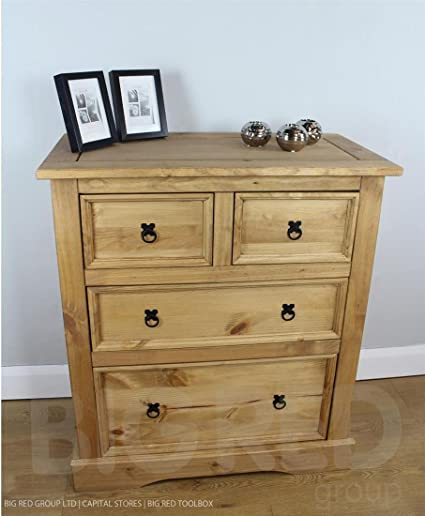 Cajonera de madera con 2 cajones madera de pino maciza Corona 2 +* Producto nuevo *