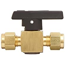 "Parker 2Z-PR4-VT-B Brass Plug Valve, 1/8"" CPI Compression Fitting"