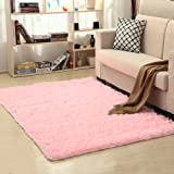 LOCHAS Soft Indoor Modern Area Rugs Fluffy Living Room Carpets Suitable for Children Bedroom Decor Nursery Rugs 4 Feet by 5.3 Feet (Pink) (Color: Pink, Tamaño: 4' x 5.3')