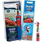 Braun Oral-B Stages Power D12.513K Advance Power Kids 900TX Rechargeable Disney Cars Toothbrush for Children 5+ with 2 Replacement Brush Heads / Economy Pack