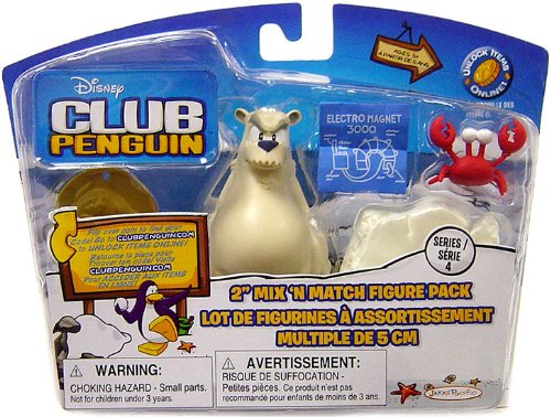Picture of Jakks Pacific Disney Club Penguin Series 4 Mix 'N Match Mini Figure Pack Herbert P. Bear, Esquire and Klutzy the Crab (Includes Coin with Code!) (B002P5O5J0) (Jakks Pacific Action Figures)