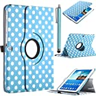 Galaxy Tab 3 Case, ULAK Galaxy Tab 3 10.1 Inch Case 360 Rotating PU Leather Folio Stand Case for Samsung Galaxy Tab 3 10.1 Inch/P5200/P5210 with Auto Sleep/Wake Function (Light Blue Dot)