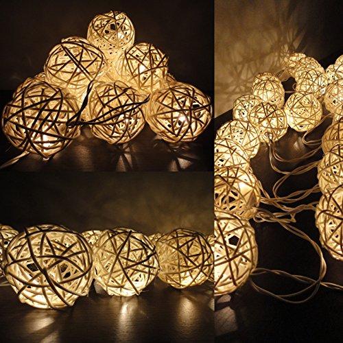 Warm White Rattan Ball String Lights,4M 40 Led, For Bedroom,Garden,Wedding,Christmas Decoration