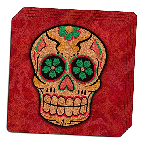 "Custom & Cool {4"" Inches} Set Pack of 4 Square ""Grip Texture"" Drink Cup Coasters Made of Thin Cork Wood w/ Bold Traditional Cartoon Sugar Skull Design [Colorful Pink, White, Black,Yellow & Green]"