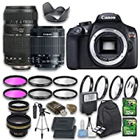 Canon EOS T6 DSLR Camera Bundle with Canon EF-S 18-55mm f/3.5-5.6 IS STM Lens + Tamron Zoom Telephoto AF 70-300mm Autofocus Lens + Wideangle Lens + Telephoto Lens + 2 PC 32 GB Cards + 6 PC Filter Kit