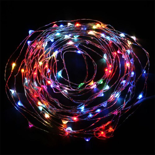 E-Age 5V Dc Starry Starry Lights, Rgb Multi-Colored On Copper Wire, 33Ft Led String Light Includes Power Adapter, With 100 Individual Leds