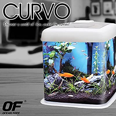 OCEAN FREE CURVO FISH TANK AQUARIUM NANO CUBE ACRYLIC 12L LED LIGHT FILTER - Colours: Clear, Blue or Pink