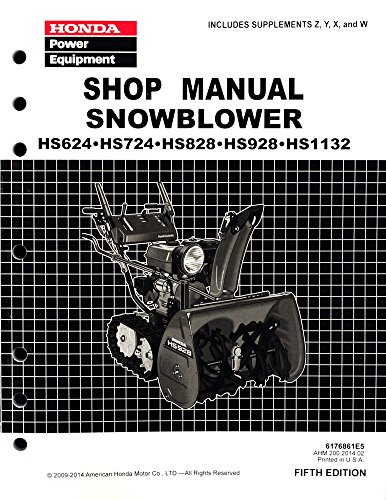 Honda HS624 HS724 HS828 HS928 HS1132 Snow blower Service Repair Shop Manual (Manual Blower compare prices)
