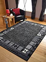 Trend Black Grey Border Design Rug. Available in 8 Sizes from Rugs Supermarket