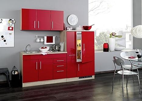 Singlekuche 210 cm Hochglanz Rot mit Geräten und Spule - Vancouver