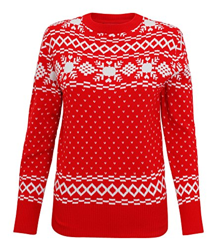 Womens Vintage Knitted Nordic Christmas Jumper - Red - M