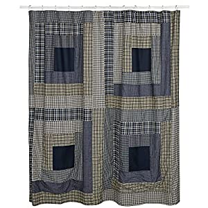 Country Style Columbus Deep Blues Cream And Green Cabin Block Shower Curtain 72x72