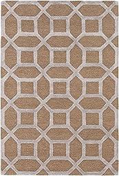 Brown Modern Rug 2-foot 3-inch x 12-foot Wool Handmade Geometric Honeycomb Carpet