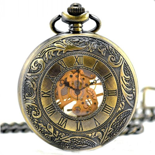 Vantasy Retro Roman Half Hunter Brass Steel Metal Skeleton Hand Wind Mechanical Pocket Watch Long Chain High Quality