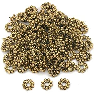 Flower Bali Spacer Beads Antq Gold Plt 6mm Approx 125