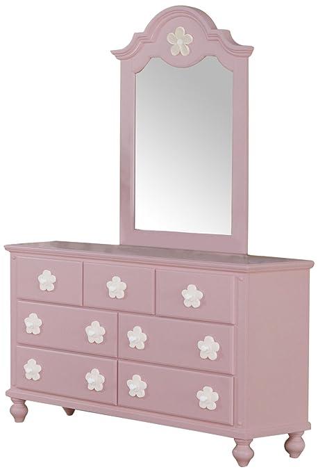 Acme 00741 Floresville Dresser with Flower Drawer, Pink