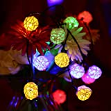 LUCKLED Solar String Lights, 20ft 30 LED Multi Color Rattan Globe String Lights Decorative Lighting for Outdoor, Home, Garden, Patio, Party and Holida