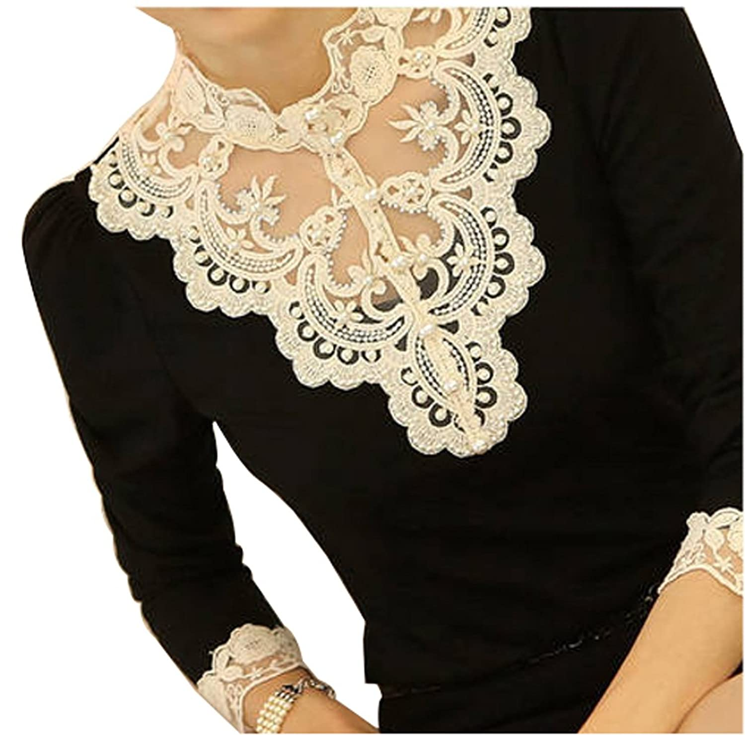 VOBAGA Women's Lace Spliced Shirt Long Sleeve Stand Collar Tops Blouse at Amazon Women�s Clothing store