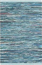Safavieh Rag Rug Collection RAR121B Hand Woven Blue and Multi Cotton Area Rug, 5 feet by 8 feet (5\' x 8\')