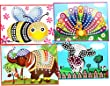 Mosaics#8 Bee | Cow | Elephant | Peacock | Sticky for Kids,art Craft | 4 Pack