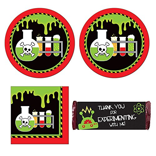 02w Mad Scientist birthday Party Supplies - 16 guests - plates, napkins, chocolate bar wrappers (Scientist Party Supplies compare prices)