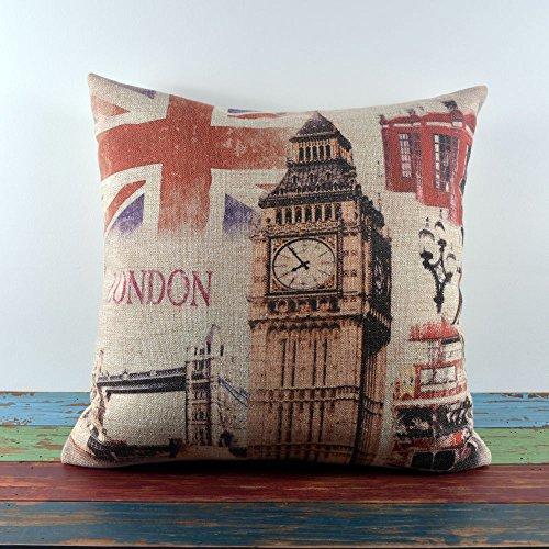 45X45Cm Retro London Union Jack Big Ben Tower Bridge Linen Cushion Covers front-957876