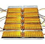 トラック 用 角型 18 LED サイド マーカー ランプ ライト 12V 24V 兼用 10個 セット ホワイト アンバー レッド ブルー グリーン カラー 各種 ダンプ カー トレーラー デコトラ 等 (アンバー)