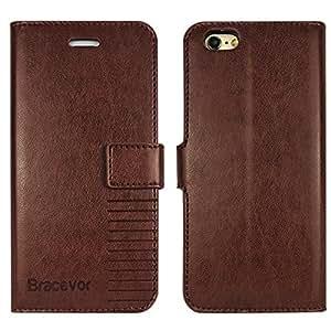 Bracevor iPhone 5 5s SE Premium Wallet Leather Stand Case Flip Cover - Executive Brown