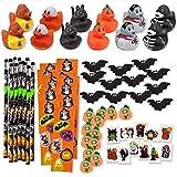 156 Piece Mega Halloween Toy Novelty Assortment; 12 Halloween Ducks, 12 Halloween Pencils, 12 Halloween Sticker Sheets; 48 Halloween Erasers; 72 Halloween Glitter Tattoos!!